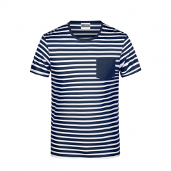 8028 T-shirt męski w paski