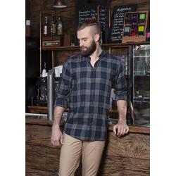 BM 8 Męska koszula w kratę z długim rękawem Urban-Style